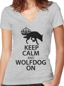 Keep Calm Wolfdog On Women's Fitted V-Neck T-Shirt