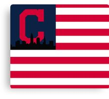 Cleveland Indians American Flag Canvas Print