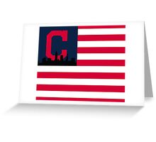Cleveland Indians American Flag Greeting Card