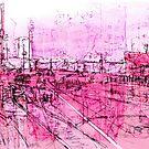 pink - huddersfield train station by H J Field