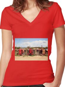 Old farm tractors machinery in country Women's Fitted V-Neck T-Shirt