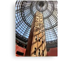 Clock Tower And Glass Ceiling Metal Print
