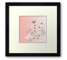 pink butterfly sketch Framed Print