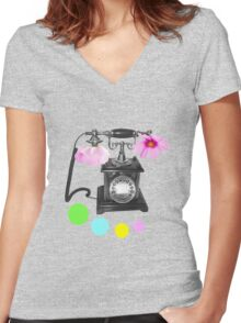 Callin flower Women's Fitted V-Neck T-Shirt