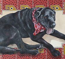 Ted on Red, Black Lab by M. E.  Bilisnansky McMorrow