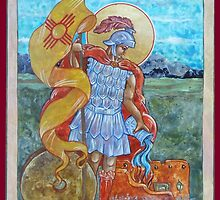 St. Florian Icon - Patron Saint of Firefighters. E mail me to find out how to have your logo or state flag on the shield! by M. E.  Bilisnansky McMorrow