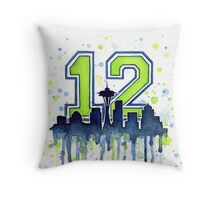 Seattle Seahawks 12th Man Fan Art Throw Pillow