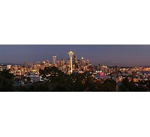 Seattle and the Mountain at Night Photographic Print