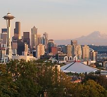 Seattle and the Mountain at Dusk by TomGreenPhotos