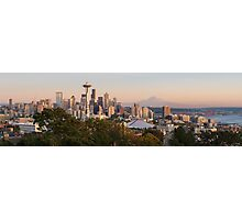 Seattle and the Mountain at Dusk Photographic Print
