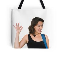 Smiling Female guitarist gives the OK sign  Tote Bag