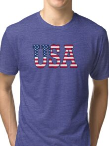 USA Stars and Stripes American Flag Tri-blend T-Shirt