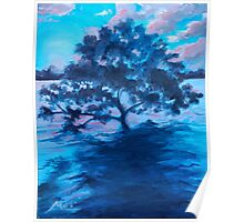 Tree in the ocean oil painting Poster