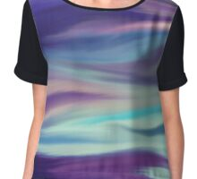 Digital painted texture background. Abstract blurred blue purple illustration, color, silk, liquid, print Chiffon Top