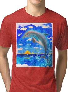 From 5D Realms Dolphin Bliss Tri-blend T-Shirt