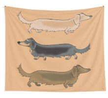 Long Haired Dachshunds off for a trot Wall Tapestry