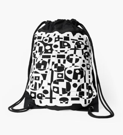 Black and white decor Drawstring Bag