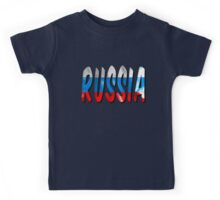 Russia Word With Flag Texture Kids Tee