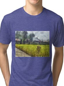 Cottages next to a field Tri-blend T-Shirt