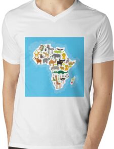 Animal Africa Continent Mens V-Neck T-Shirt