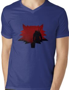 The Witcher Red Wolf Mens V-Neck T-Shirt