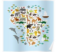 African animal map and ocean Poster