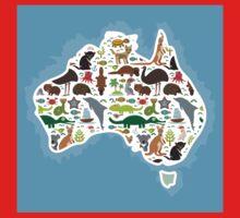 Australian Animal Map  Kids Tee