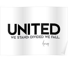united we stand; divided we fall - aesop Poster