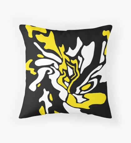 Yellow, black and white decor Throw Pillow