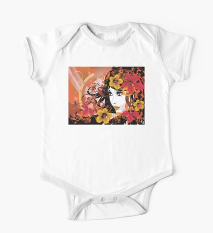 Autumn Girl with Floral One Piece - Short Sleeve