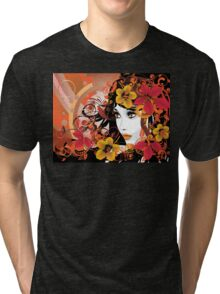 Autumn Girl with Floral Tri-blend T-Shirt