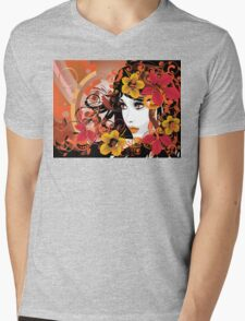 Autumn Girl with Floral Mens V-Neck T-Shirt