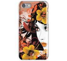 Autumn Girl with Floral iPhone Case/Skin