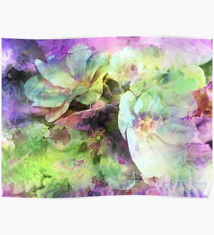 Pink and Green Floral Abstract Poster