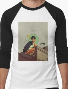 Grey Men's Baseball ¾ T-Shirt