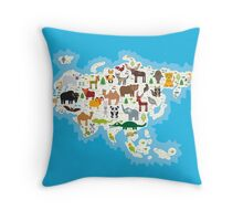 Eurasia Animal Map Throw Pillow