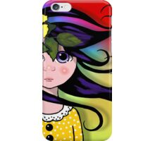 Big-Eyed Girl on Windy Day, Whimsical Art, Multi-Coloured Background iPhone Case/Skin
