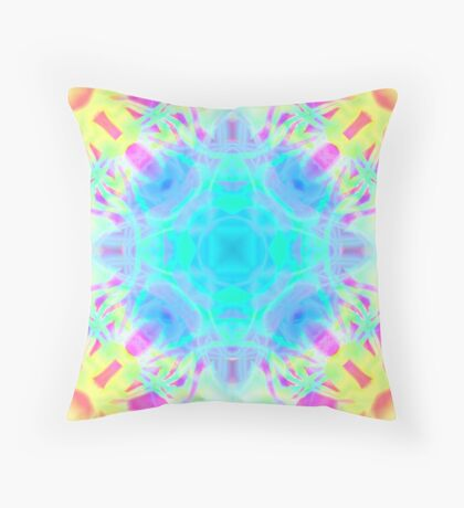 Abstract psychedelic pattern yellow pink blue Throw Pillow