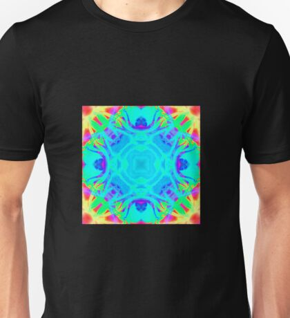 Abstract psychedelic pattern yellow pink blue Unisex T-Shirt