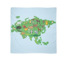 Eurasia Animal Map Green Scarf