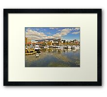 Fishermans Wharf and Hobart cityscape Framed Print