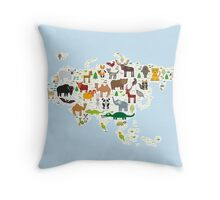 Eurasia Animal Map light blue Throw Pillow
