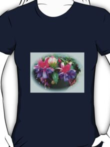 Raindrops on Fuchsia Bells and Buds - Framed Vignette T-Shirt
