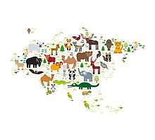 Eurasia Animal Map Simple Photographic Print