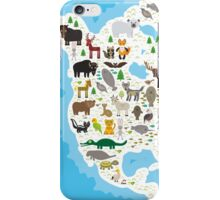 Northern America Animal Map iPhone Case/Skin