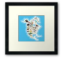 Northern America Animal Map Framed Print