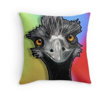 Wild-Eyed Emu: Original Pastel Art: Wildlife, Multi-Coloured Background Throw Pillow