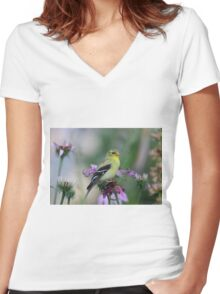 American Goldfinch - female Women's Fitted V-Neck T-Shirt