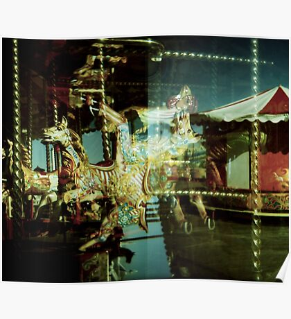 Carousel and Sea Poster