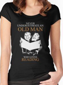 Never Underestimate An Old Man With A Reading T-shirts Women's Fitted Scoop T-Shirt